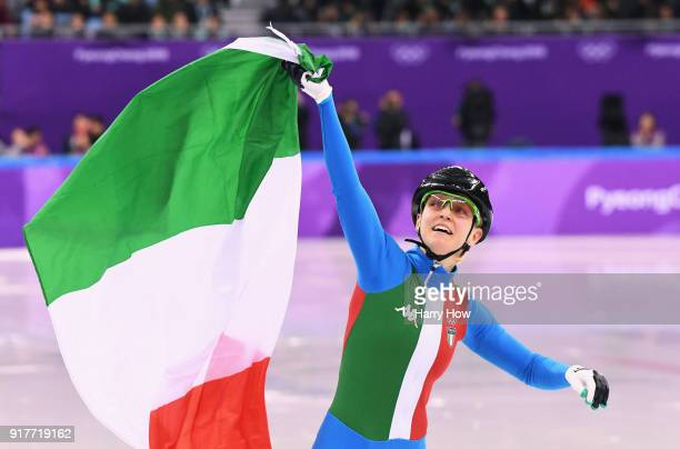 Arianna Fontana of Italy celebrates winning the gold medal in the Ladies' 500m Short Track Speed Skating final on day four of the PyeongChang 2018...