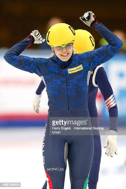 Arianna Fontana of Italy celebrates winning the Ladies' 1500m Final on day two of the ISU World Short Track Speed Skating Championships at the...