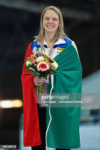 Arianna Fontana of Italy celebrates with her Gold medal after winning the Ladies' 1500m Final on day two of the ISU World Short Track Speed Skating...