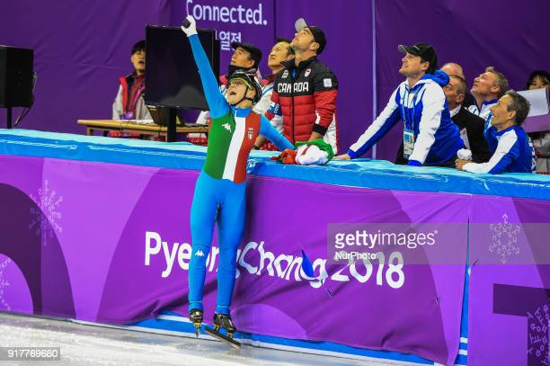 Arianna Fontana of  Italy celebrating her goal at 500 meter short track speed skating at Gangneung Ice arena Pyeongchang South Korea on February 13...