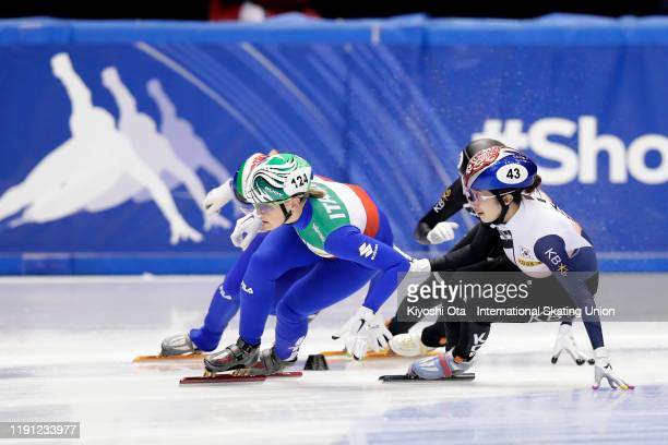 Arianna Fontana of Italy competes against Noh Ah Rum of South Korea in the Ladies' 3000m Relay Final A during the ISU World Cup Short Track at the...