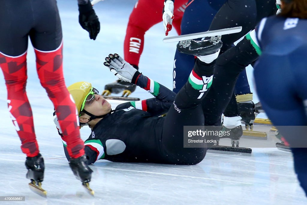 Arianna Fontana of Italy falls while competing in the Short Track Ladies' 3000m Relay Final at Iceberg Skating Palace on day 11 of the 2014 Sochi Winter Olympics on February 18, 2014 in Sochi, Russia.