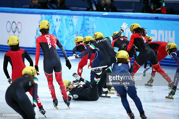 Arianna Fontana of Italy falls while competing in the Short Track Ladies' 3000m Relay Final at Iceberg Skating Palace on day 11 of the 2014 Sochi...