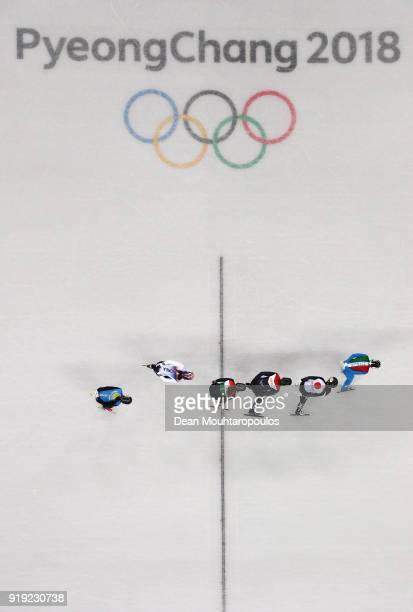 Arianna Fontana of Italy Jorien ter Mors of the Netherlands Sumire Kikuchi of Japan Iong A Kim of Kazakhstan Sara Bacskai of Hungary and Sukhee Shim...