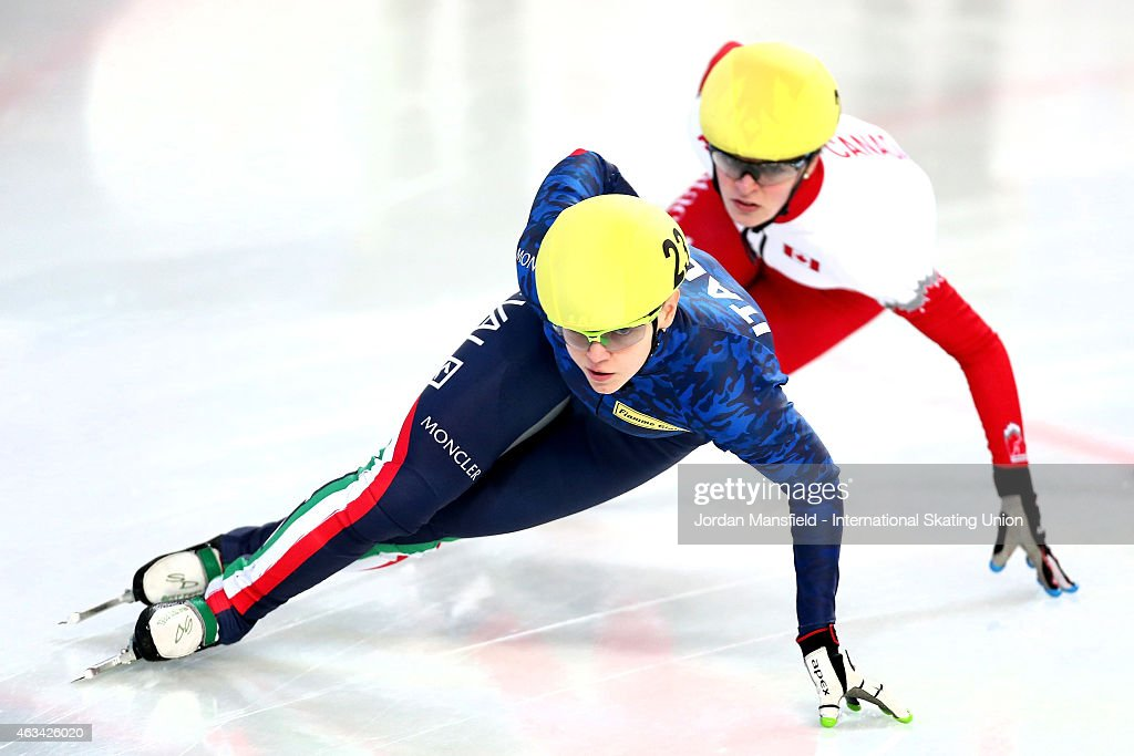 Arianna Fontana of Italy (L) leads #2 Kim Boutin of Canada (R) during the Women's 1500m semi-finals on day one of the ISU World Cup Short Track Speed Skating on February 14, 2015 in Erzurum, Turkey.