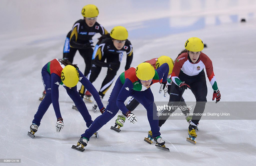 Arianna Fontana of Italy leads the Ladies 3000 M Relay Final during day two of the ISU World Cup Short Track Speed Skating at EnergieVerbund Arena on February 7, 2016 in Dresden, Germany.