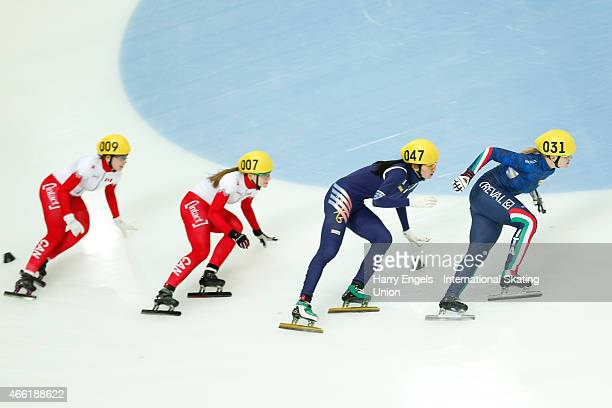 Arianna Fontana of Italy leads the pack during the Ladies' 1500m Semifinal on day two of the ISU World Short Track Speed Skating Championships at the...