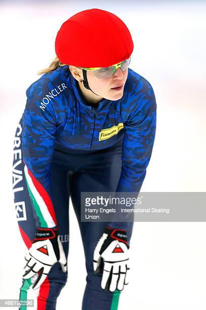 Arianna Fontana of Italy looks dejected after crashing out of the Ladies 500m Final on day two of the ISU World Short Track Speed Skating...
