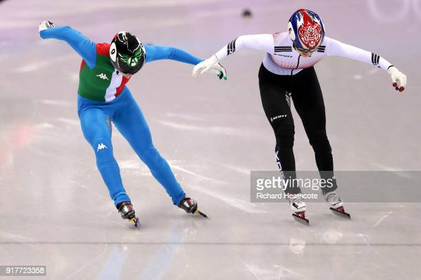 Arianna Fontana of Italy races Minjeong Choi of Korea to the finish line before Choi was penalized in the Ladies' 500m Short Track Speed Skating...