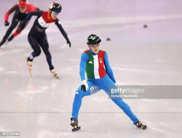 Arianna Fontana of Italy races to the finish line to win the gold medal during the Ladies' 500m Short Track Speed Skating final on day four of the...