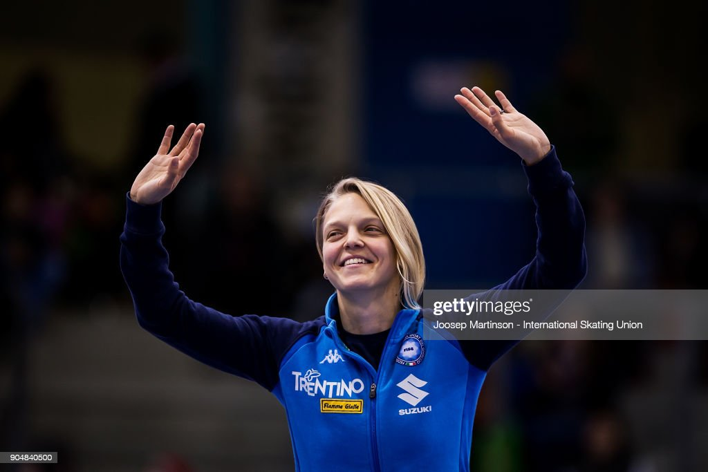 Arianna Fontana of Italy reacts in the Ladies 1000m medal ceremony during day three of the European Short Track Speed Skating Championships at EnergieVerbund Arena on January 14, 2018 in Dresden, Germany.