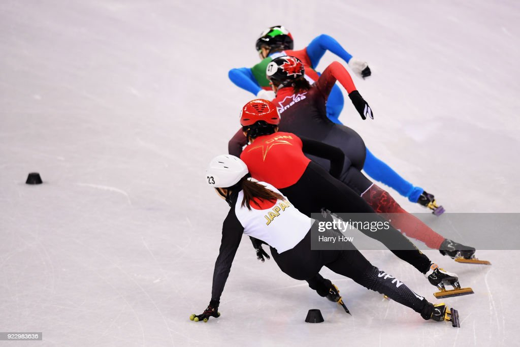 Arianna Fontana of Italy, Valerie Maltais of Canada, Jinyu Li of China and Hitomi Saito of Japan compete during the Short Track Speed Skating - Ladies' 1,000m Quarterfinal 2 at Gangneung Ice Arena on February 22, 2018 in Gangneung, South Korea.