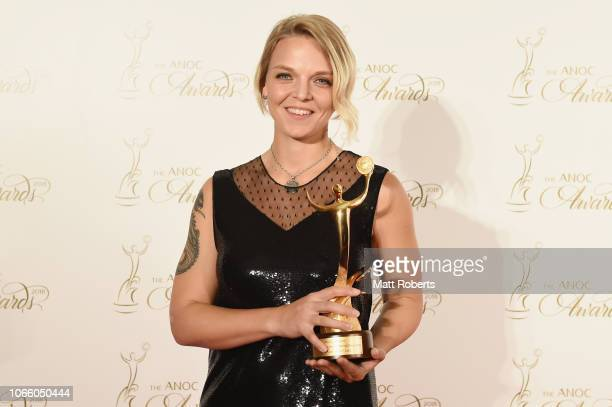Arianna Fontana of Italy with the Best Female Athlete of PyeongChang 2018 award during the gala awards evening following day one of the XXIII ANOC...