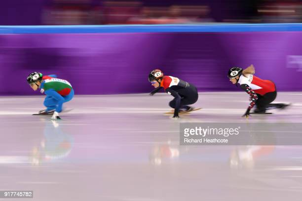 Arianna Fontana of Italy Yara Van Kerkhof of the Netherlands and Natalia Maliszewska of Poland compete during the Ladies' 500m Short Track Speed...