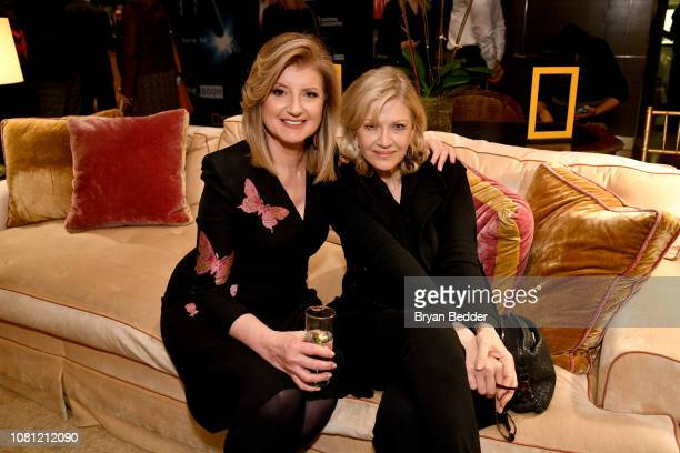 Arianna Huffington and Diane Sawyer attend a special screening of National Geographic's upcoming limited series Valley Of The Boom at the home of...