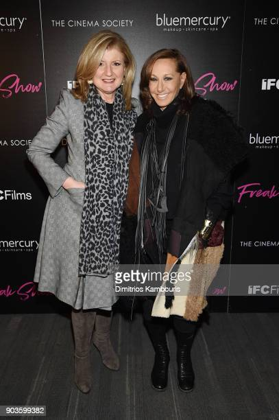 Arianna Huffington and Donna Karan attend the premiere of IFC Films' 'Freak Show' hosted by The Cinema Society at Landmark Sunshine Cinema on January...