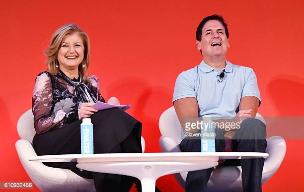 Arianna Huffington and Mark Cuban speaks onstage during the THRIVE with Arianna Huffington panel at The Town Hall during 2016 Advertising Week New...
