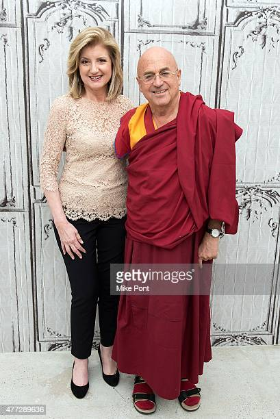 Arianna Huffington and Matthieu Ricard attend the AOL BUILD Speaker Series at AOL Studios In New York on June 15 2015 in New York City