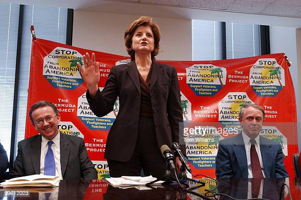 Arianna Huffington, author and syndicated columnist, speaks at a news conference launching a new ad campaign by the Bermuda Project which juxtaposes...
