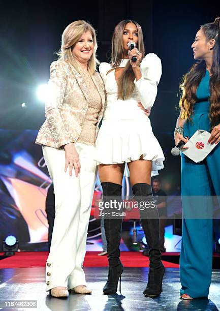Arianna Huffington Ciara and Jeannie Mai speak onstage during Beautycon Festival Los Angeles 2019 at Los Angeles Convention Center on August 11 2019...