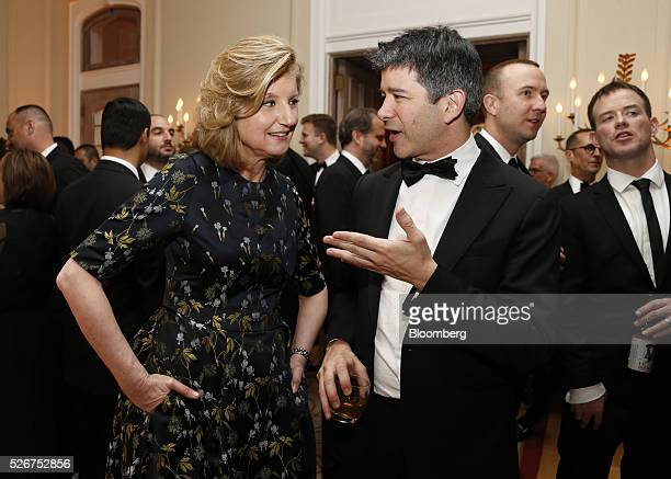 Arianna Huffington cofounder and editorinchief of the Huffington Post left and Travis Kalanick cofounder and chief executive officer of Uber...