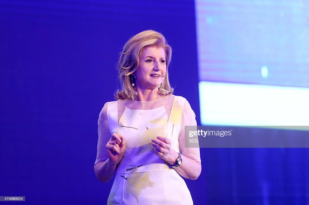 Arianna Huffington, founder of The Huffington Post, speaks during the Global Women Entrepreneurs Conference on May 20, 2015 in Hangzhou, Zhejiang province of China. The Global Women Entrepreneurs Conference hosted by Chinese e-commerce giant Alibaba Group is being held in the eastern Chinese city of Hangzhou on May 20 and global female celebrities such as Arianna Huffington, Liu Qing, president of the recently merged taxi-hailing company Didi Kuaidi Dache, US actress Jessica Alba and Chinese actress Vicki Zhao as well as the only male participant at the meeting Jack Ma are attending the conference. The participants discussed the opportunities and challenges brought by the Internet for women entrepreneurs, as well as how women can shape the world by better interacting with the commercial sector.