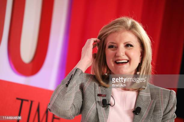 Arianna Huffington participates in a panel discussion during the TIME 100 Summit 2019 on April 23 2019 in New York City