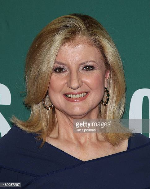Arianna Huffington promotes the new book 'Thrive The Third Metric To Redefining Success And Creating A Life Of WellBeing Wisdom And Wonder' at Barnes...