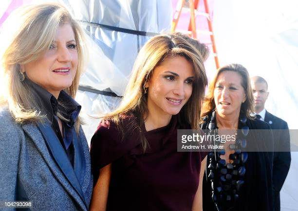 Arianna Huffington Queen of Jordan Rania Al Abdullah and fashion designer Donna Karan attend the 2010 WIE Symposium press conference at Skylight West...