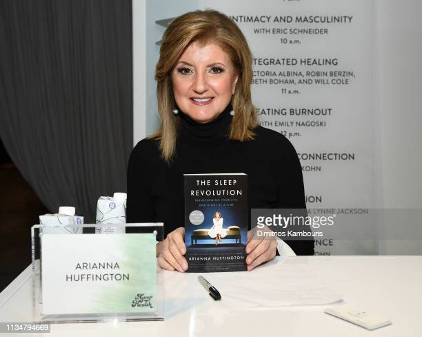 Arianna Huffington signs books during the In goop Health Summit New York 2019 at Seaport District NYC on March 09 2019 in New York City