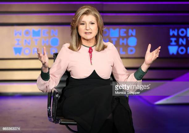 Arianna Huffington speaks on stage at the 8th Annual Women In The World Summit at Lincoln Center for the Performing Arts on April 6 2017 in New York...
