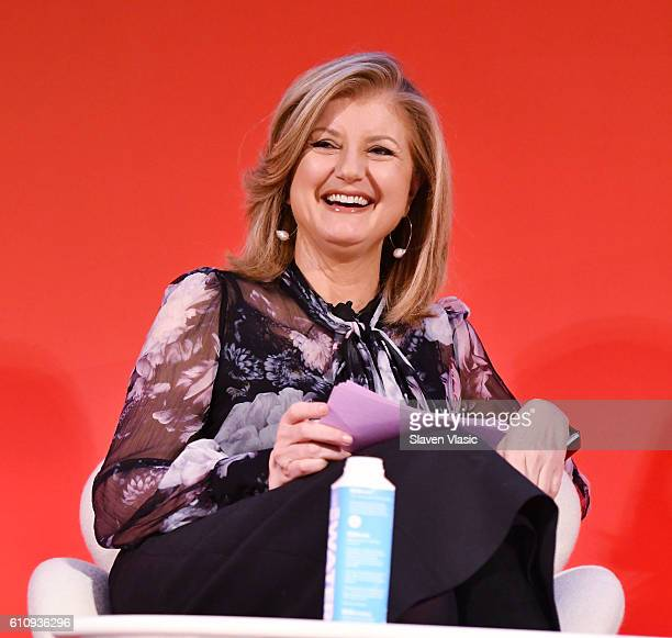 Arianna Huffington speaks onstage during the THRIVE with Arianna Huffington panel at The Town Hall during 2016 Advertising Week New York on September...
