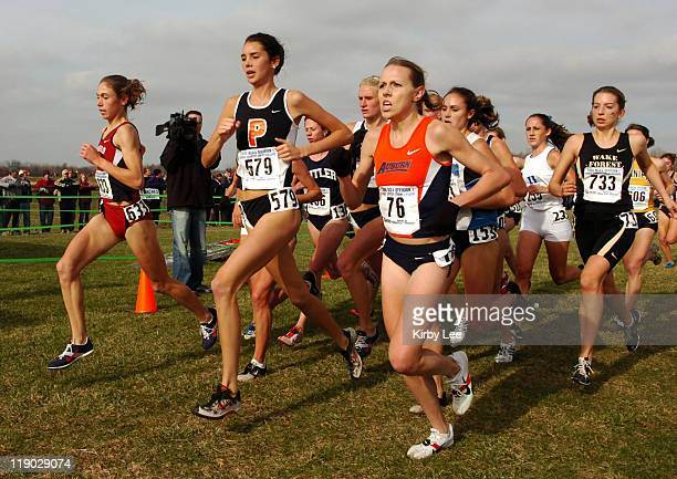 Arianna Lambie of Stanford Cack Ferrell of Princeton Angela Homan of Auburn and Annie Bersagel of Wake Forrest approach the halfway point of the...