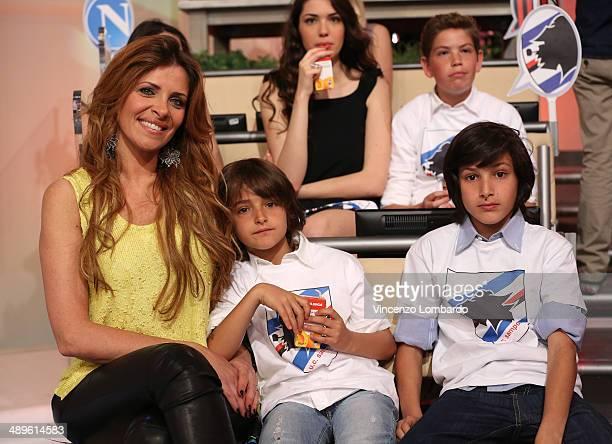Arianna Mihajlovic Nikolas Dusan Miroslav Virginia and Viktoria attend the 'Quelli che il Calcio' TV Show on May 11 2014 in Milan Italy