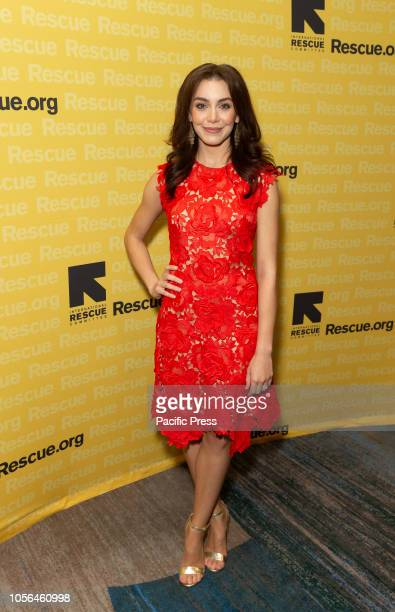 Arianna Rosario wearing dress by Catherine Deane attends the 2018 IRC Rescue Dinner at New York Hilton Midtown