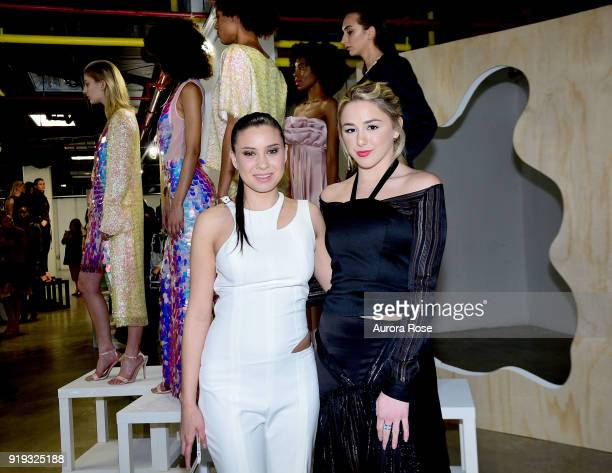 Arianne Elmy and Chloe Lukasiak attend Arianne Elmy FW18 Presentation at 151 Gallery on February 14 2018 in New York City