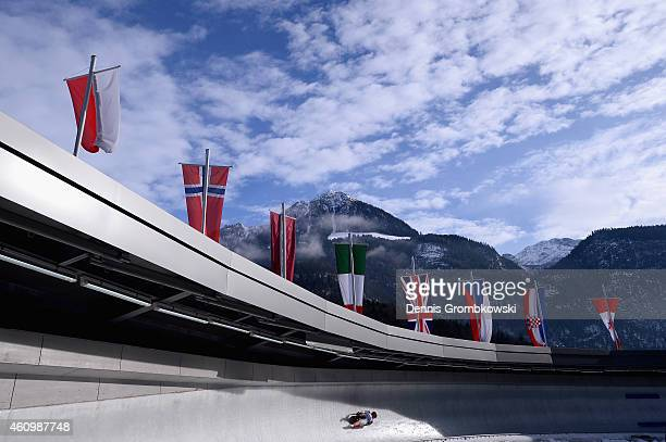 Arianne Jones of Canada competes in the 1st run of the Women's FIL Luge World Cup Koenigssee at Deutsche Post Eisarena on January 3 2015 in...