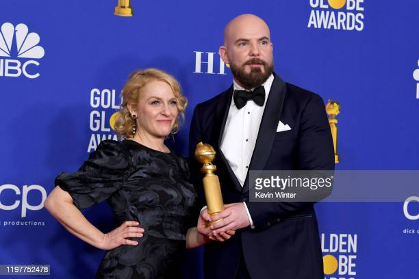 Arianne Sutner and Chris Butler accepting award for Best Motion Picture Animated for Missing Link pose in the press room during the 77th Annual...