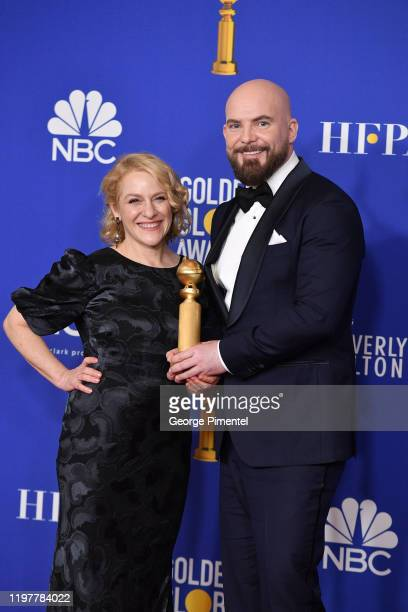 Arianne Sutner and Chris Butler pose in the press room during the 77th Annual Golden Globe Awards at The Beverly Hilton Hotel on January 05 2020 in...