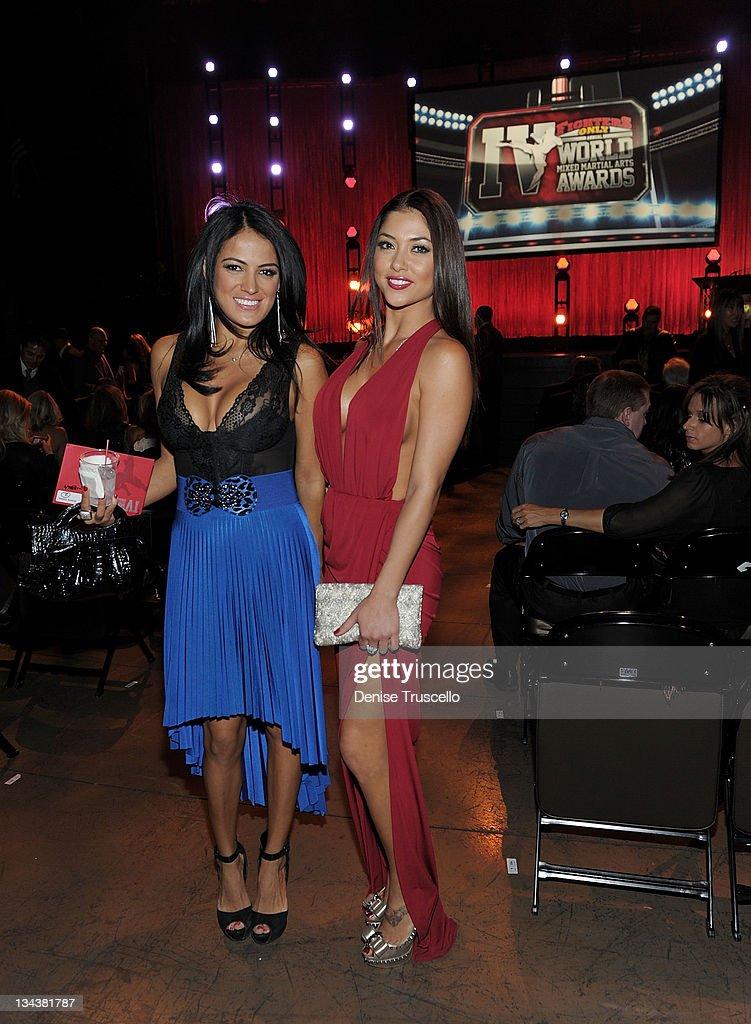 Arianny Celeste (R) attends the 2011 Fighters Only World Mixed Martial Arts Awards at the Palms Casino Resort on November 30, 2011 in Las Vegas, Nevada.