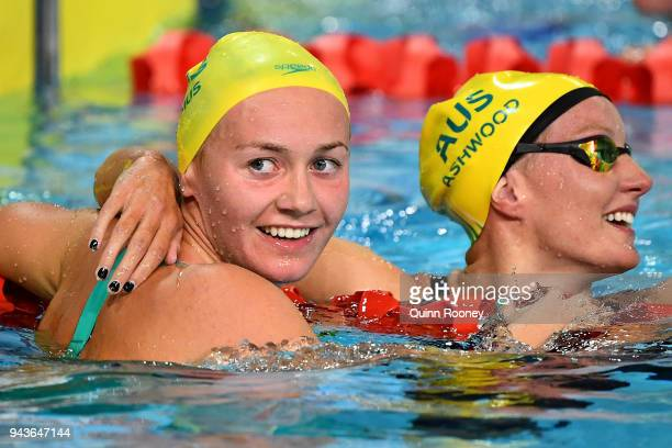 Ariarne Titmus and Jessica Ashwood of Australia celebrate following the Women's 800m Freestyle Final on day five of the Gold Coast 2018 Commonwealth...