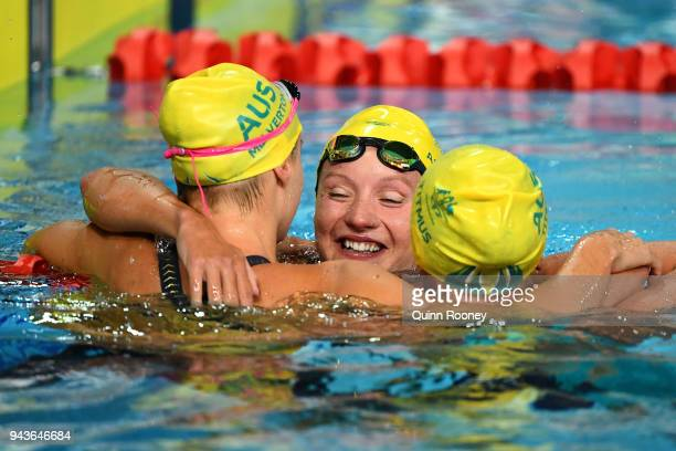Ariarne Titmus Jessica Ashwood and Kiah Melverton of Australia celebrate following the Women's 800m Freestyle Final on day five of the Gold Coast...