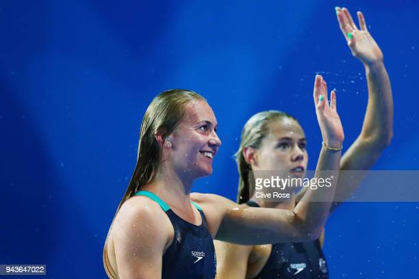 Ariarne Titmus of Australia celebrates following the Women's 800m Freestyle Final on day five of the Gold Coast 2018 Commonwealth Games at Optus...