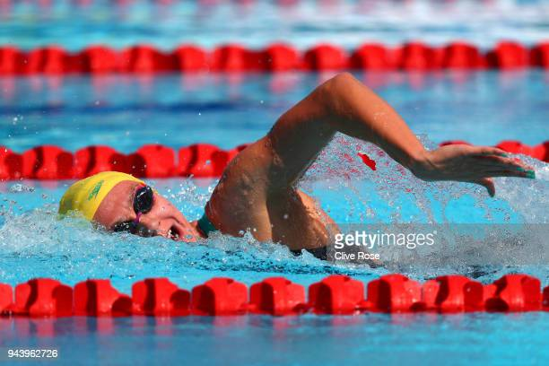 Ariarne Titmus of Australia competes during the Women's 400m Freestyle Heat 3 on day six of the Gold Coast 2018 Commonwealth Games at Optus Aquatic...