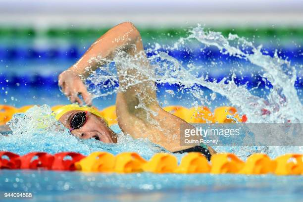 Ariarne Titmus of Australia competes during the Women's 400m Freestyle Final on day six of the Gold Coast 2018 Commonwealth Games at Optus Aquatic...