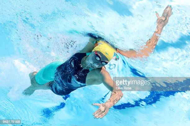 Ariarne Titmus of Australia competes during the Women's 800m Freestyle Heat 2 on day four of the Gold Coast 2018 Commonwealth Games at Optus Aquatic...