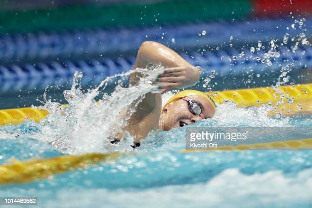 Ariarne Titmus of Australia competes in the Women's 4x200m Freestyle Relay on day two of the Pan Pacific Swimming Championships at Tokyo Tatsumi...