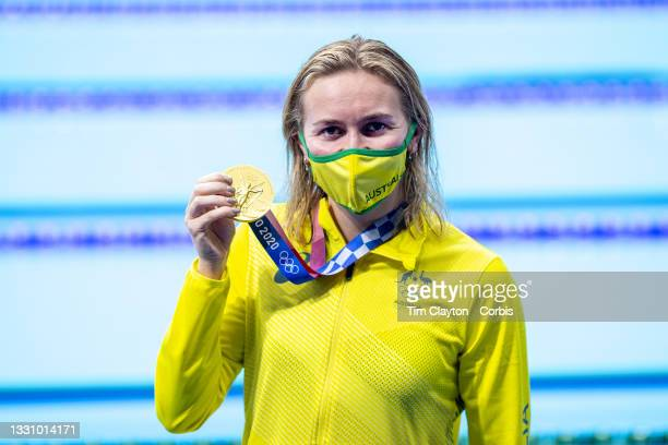 Ariarne Titmus of Australia holds her gold medal after winning the 200m freestyle for women during the Swimming Finals at the Tokyo Aquatic Centre at...