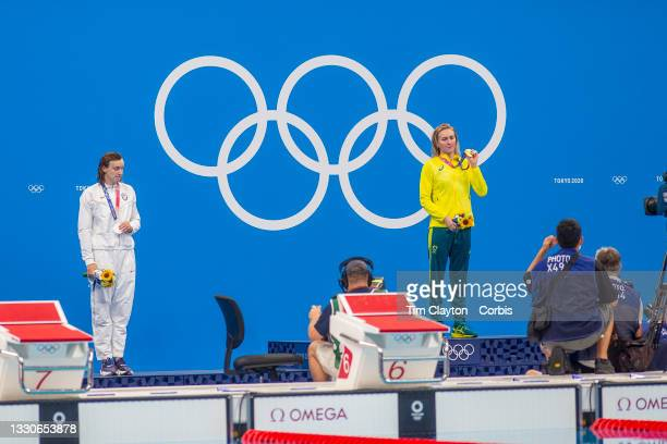Ariarne Titmus of Australia on the podium with her gold medal and Kathleen Ledecky of the United States won the silver medal in the 400m Freestyle...