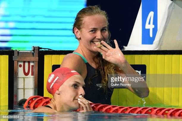 Ariarne Titmus of Australia smiles following victory in the Women's 400m Freestyle Final on day six of the Gold Coast 2018 Commonwealth Games at...